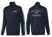 Wholesale NFL Los Angeles Chargers Heart Jacket Dark Blue