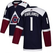 Wholesale Cheap Adidas Avalanche #1 Semyon Varlamov Navy Alternate Authentic Stitched NHL Jersey