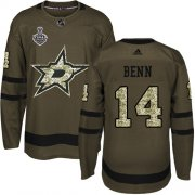 Cheap Adidas Stars #14 Jamie Benn Green Salute to Service Youth 2020 Stanley Cup Final Stitched NHL Jersey