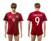 Wholesale Cheap Danmark #9 Tomasson Red Home Soccer Country Jersey