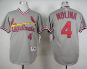 Wholesale Cheap Cardinals #4 Yadier Molina Grey 1978 Turn Back The Clock Stitched MLB Jersey