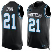 Wholesale Cheap Nike Panthers #21 Jeremy Chinn Black Team Color Men's Stitched NFL Limited Tank Top Jersey