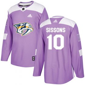 Wholesale Cheap Adidas Predators #10 Colton Sissons Purple Authentic Fights Cancer Stitched NHL Jersey