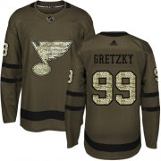 Wholesale Cheap Adidas Blues #99 Wayne Gretzky Green Salute to Service Stitched NHL Jersey