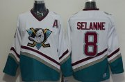 Wholesale Cheap Ducks #8 Teemu Selanne White CCM Throwback Stitched NHL Jersey