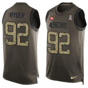 Wholesale Cheap Nike 49ers #92 Kerry Hyder Green Men's Stitched NFL Limited Salute To Service Tank Top Jersey