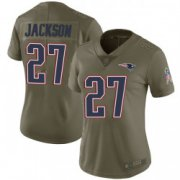 Wholesale Cheap Women's New England Patriots #27 J.C. Jackson Limited Salute to Service Green Jersey