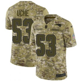 Wholesale Cheap Nike Patriots #53 Josh Uche Camo Youth Stitched NFL Limited 2018 Salute To Service Jersey