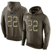 Wholesale Cheap NFL Men's Nike Minnesota Vikings #22 Harrison Smith Stitched Green Olive Salute To Service KO Performance Hoodie