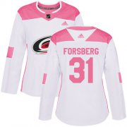 Wholesale Cheap Adidas Hurricanes #31 Anton Forsberg White/Pink Authentic Fashion Women's Stitched NHL Jersey