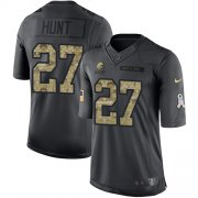 Wholesale Cheap Nike Browns #27 Kareem Hunt Black Men's Stitched NFL Limited 2016 Salute to Service Jersey
