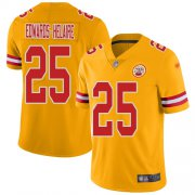 Wholesale Cheap Nike Chiefs #25 Clyde Edwards-Helaire Gold Youth Stitched NFL Limited Inverted Legend Jersey