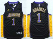 Wholesale Cheap Men's Los Angeles Lakers #1 D'Angelo Russell Revolution 30 Swingman 2015 Draft New Black With Purple Jersey