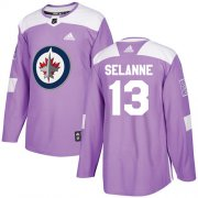Wholesale Cheap Adidas Jets #13 Teemu Selanne Purple Authentic Fights Cancer Stitched Youth NHL Jersey