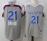 Wholesale Cheap Men's Eastern Conference Philadelphia 76ers #21 Joel Embiid adidas Gray 2017 NBA All-Star Game Swingman Jersey