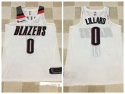 Wholesale Cheap Men's Portland Trail Blazers #0 Damian Lillard White 2017-2018 Nike Swingman Stitched NBA Jersey