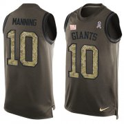 Wholesale Cheap Nike Giants #10 Eli Manning Green Men's Stitched NFL Limited Salute To Service Tank Top Jersey