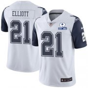 Wholesale Cheap Nike Cowboys #21 Ezekiel Elliott White Men's Stitched With Established In 1960 Patch NFL Limited Rush Jersey