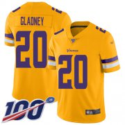 Wholesale Cheap Nike Vikings #20 Jeff Gladney Gold Men's Stitched NFL Limited Inverted Legend 100th Season Jersey