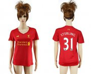 Wholesale Cheap Women's Liverpool #31 Sterling Red Home Soccer Club Jersey