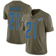 Wholesale Cheap Nike Lions #21 Tracy Walker Olive Youth Stitched NFL Limited 2017 Salute to Service Jersey