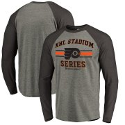 Wholesale Cheap Men's Philadelphia Flyers Heather Gray Black 2019 Stadium Series Vintage Raglan Long Sleeve T-Shirt
