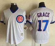 Wholesale Cheap Mitchell And Ness Cubs #17 Mark Grace White(Blue Strip) Throwback Stitched MLB Jersey