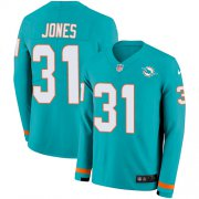 Wholesale Cheap Nike Dolphins #31 Byron Jones Aqua Green Team Color Men's Stitched NFL Limited Therma Long Sleeve Jersey