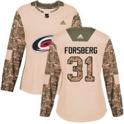 Wholesale Cheap Adidas Hurricanes #31 Anton Forsberg Camo Authentic 2017 Veterans Day Women's Stitched NHL Jersey
