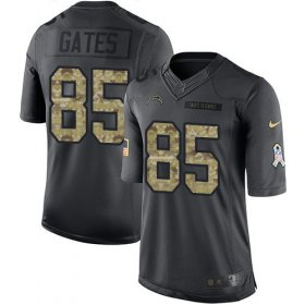 Wholesale Cheap Nike Chargers #85 Antonio Gates Black Youth Stitched NFL Limited 2016 Salute to Service Jersey