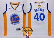 Wholesale Cheap Men's Golden State Warriors #40 Harrison Barnes 2015 The Finals New White Jersey