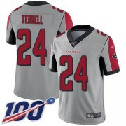 Wholesale Cheap Nike Falcons #24 A.J. Terrell Silver Youth Stitched NFL Limited Inverted Legend 100th Season Jersey