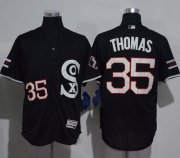 Wholesale Cheap White Sox #35 Frank Thomas Black New Flexbase Authentic Collection Stitched MLB Jersey