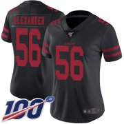 Wholesale Cheap Nike 49ers #56 Kwon Alexander Black Alternate Women's Stitched NFL 100th Season Vapor Limited Jersey