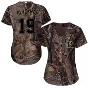 Wholesale Cheap Rockies #19 Charlie Blackmon Camo Realtree Collection Cool Base Women's Stitched MLB Jersey