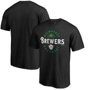 Wholesale Cheap Milwaukee Brewers Majestic Forever Lucky T-Shirt Black