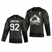 Wholesale Cheap Colorado Avalanche #92 Gabriel Landeskog Adidas 2019 Veterans Day Men's Authentic Practice NHL Jersey Camo