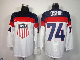 Wholesale Cheap 2014 Olympic Team USA #74 T. J. Oshie White Stitched NHL Jersey