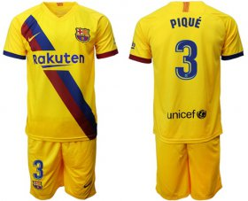 Wholesale Cheap Barcelona #3 Pique Away Soccer Club Jersey