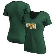 Wholesale Cheap Green Bay Packers Women's 2019 NFL Playoffs Bound Hometown Checkdown V-Neck T-Shirt Green