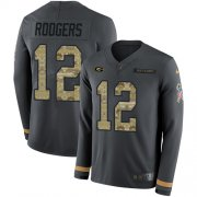 Wholesale Cheap Nike Packers #12 Aaron Rodgers Anthracite Salute to Service Youth Stitched NFL Limited Therma Long Sleeve Jersey
