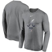 Wholesale Cheap Men's Atlanta Braves Nike Charcoal Authentic Collection Legend Performance Long Sleeve T-Shirt