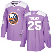 Wholesale Cheap Adidas Islanders #25 Devon Toews Purple Authentic Fights Cancer Stitched NHL Jersey