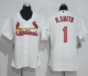 Wholesale Cheap Cardinals #1 Ozzie Smith White Women's Home Stitched MLB Jersey