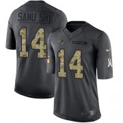Wholesale Cheap Nike Patriots #14 Mohamed Sanu Sr Black Youth Stitched NFL Limited 2016 Salute to Service Jersey