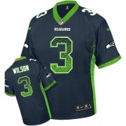 Wholesale Cheap Nike Seahawks #3 Russell Wilson Steel Blue Team Color Men's Stitched NFL Elite Drift Fashion Jersey