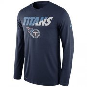Wholesale Cheap Men's Tennessee Titans Nike Navy Legend Staff Practice Long Sleeves Performance T-Shirt