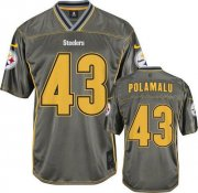 Wholesale Cheap Nike Steelers #43 Troy Polamalu Grey Men's Stitched NFL Elite Vapor Jersey