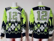 Wholesale Cheap Nike Seahawks #12 Fan White Men's Ugly Sweater