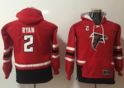 Wholesale Cheap Nike Falcons #2 Matt Ryan Red/Black Youth Name & Number Pullover NFL Hoodie